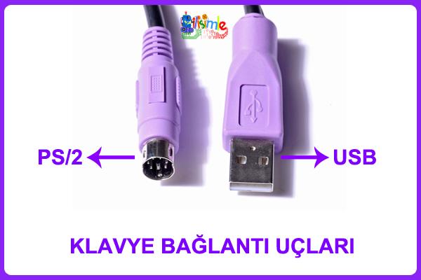 PS/2 ve USB Klavye Bağlantı Uçları