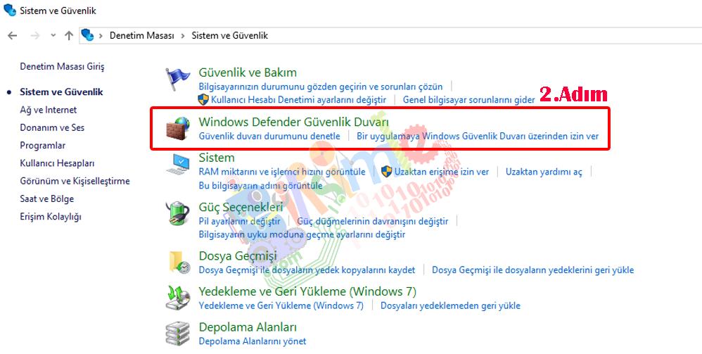 Windows defender güvenlik duvarı